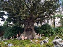 Kaatsheuvel/Nederländerna - mars 29 2018: Talande faitytaleträd i nöjesfältet Efteling Vår royaltyfri foto