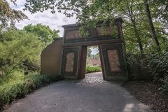 Decorative entrance gate to the attraction Piranha at the amusement park Efteling in the Netherlands stock photo