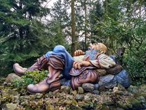 Kaatsheuvel / The Netherlands - March 29 2018: Sleeping and snoring giant in Theme Park Efteling. Spring stock image