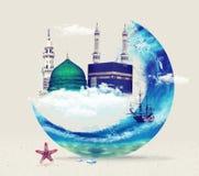 Kaba της Μέκκας Madina - πράσινος θόλος της Σαουδικής Αραβίας του σχεδίου του Προφήτης Μουχάμαντ Στοκ Εικόνα