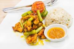 Kabab del pollo servito con riso e le verdure Immagini Stock