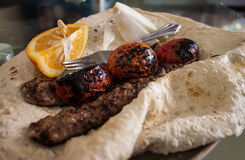 Kabab with flat bread Royalty Free Stock Photo