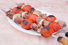 Kababs da carne na grade Foto de Stock