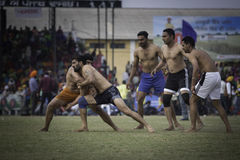 Kabaddi. Known as a mix between wrestling, rugby, chanting and tag, is a contact team sport that originated in ancient India in Tamil Nadu. It is popular in Royalty Free Stock Photos