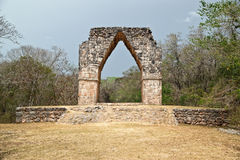 Kabah arch. Puuc is the name of either a region in the Mexican state of Yucatán or a Maya architectural style prevalent in that region. The word puuc is Royalty Free Stock Photo