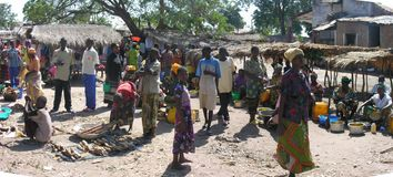 Kabalo, Democratic Republic of the Congo: Women selling food royalty free stock images