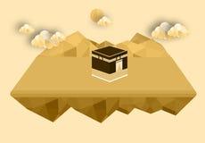 Kabamoskee van Mekka - de Groene Koepel van Saudi-Arabië van vlak het ontwerp Islamitisch vlak conceptontwerp van Helderziendemuh Stock Afbeeldingen