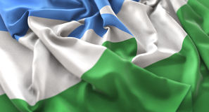 Kabardino-Balkarienflagge gekräuselter schön wellenartig bewegender Makroabschluß-cc$u Stockbild