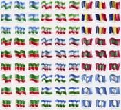 KabardinoBalkaria, Somaliland, Romania, Tatarstan, Mari El, Maldives, Chechen Republic, Bashkortostan, Antarctica. Big set of 81 f Stock Image
