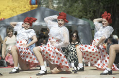 Kabaret dancing groupe stock photo