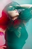 Kabaret, kobieta jest ubranym venetian gorsecika i maskę Obrazy Royalty Free
