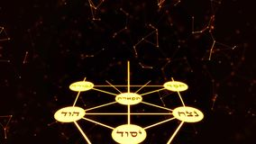 Kabbalah Golden Tree of Life with Ancient Hebrew Text on a Space Background