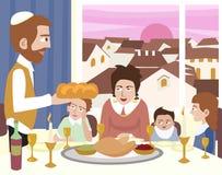 Kabbalat Shabbat, family night meal, colorful cartoon ill vector illustration