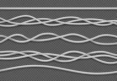 kabeer elkraft Realistiska elektriska vita industriella trådar Isolerad vektoruppsättning stock illustrationer