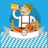 Kabel символа Oktoberfest с человеком и пивом. Вектор  Стоковое Изображение