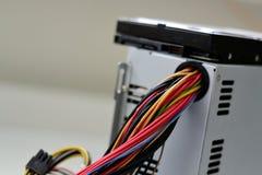 Kabel bij PC Royalty-vrije Stock Foto's