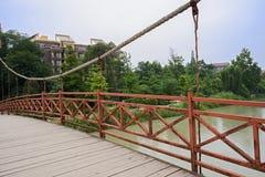 Kabel-bliven bro över floden Royaltyfri Fotografi