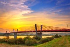 Kabel bliven bro över Vistula River Arkivbilder