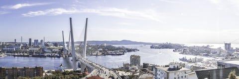 Kabel-bliven bro av Vladivostok royaltyfri bild
