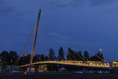Kabel-bliven bro, Tammerfors Fotografering för Bildbyråer