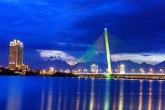Kabel bliven bro TranThiLy - Danang-Vietnam Arkivbilder