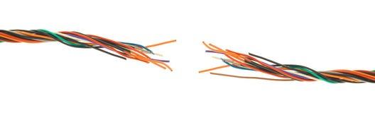 Kabel die in het midden wordt gesneden Stock Foto