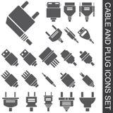 Kabel en stop geplaatste pictogrammen Stock Afbeelding