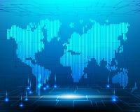 Kabel för fiber för internet för omformning för världskartacybersystem optisk royaltyfri illustrationer