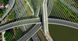 Kabel-gebleven brug in de wereld, São Paulo Brazil stock videobeelden