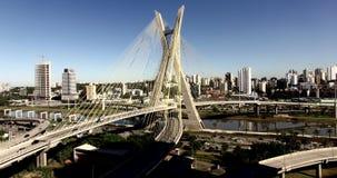 Kabel-gebleven brug in de wereld, Sao Paulo, Brazilië stock video