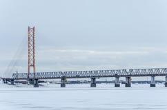 Kabel-gebleven brug in de winteravond met lichten royalty-vrije stock afbeeldingen