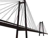 Kabel-gebleven hangbrug Stock Foto's
