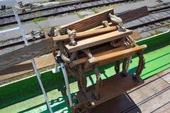 Kabel-houten ladder royalty-vrije stock fotografie