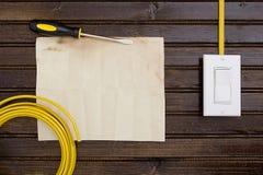 Kabel med strömbrytaren Arkivbilder