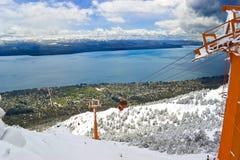 kabel nad kolej śniegiem Zdjęcie Royalty Free