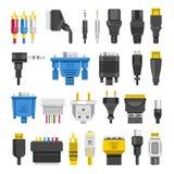 Kabel ports lägenheten för vektorn för digitala efterbehandlingar för stålar den olika stock illustrationer