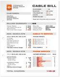 Kabel-Service-Telefon-Bill-Dokumenten-Beispielschablone   Stockfotos