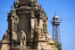 Kabelbaan aan Montjuic - Barcelona Spanje royalty-vrije stock afbeeldingen