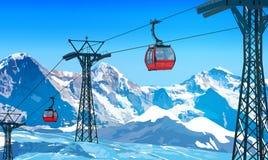 Kabelbaan in alpen vector illustratie
