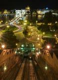 Kabelbaan bij nacht Royalty-vrije Stock Foto's