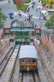 Kabelbaan in Boedapest, Hongarije Stock Foto's