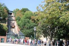 Kabelbaan in Boedapest in Hongarije stock afbeeldingen