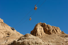 Kabelbaan in Masada. Stock Foto's