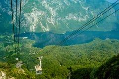 Kabelbaan op Meer Bohinj, Slovenië Stock Afbeelding