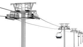 Kabelbaan op witte achtergrond 3d geef image Royalty-vrije Stock Fotografie