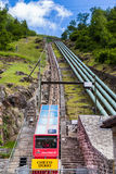 Kabelbaan van Ritom in Ticino Stock Foto's