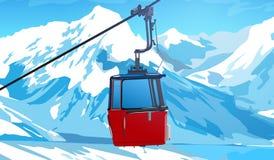 Kabelbaan in Zwitserse Alpen royalty-vrije illustratie