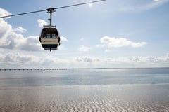 Kabelbahn über dem Tajo in Lissabon, Portugal Lizenzfreies Stockbild