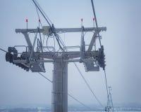 Kabelbahnunterstützung Oberer Teil Unterstützung mit beweglichem Th des Mechanismus Stockfotografie