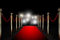 Kabelbarrière met rood tapijt en flitslicht Stock Afbeelding